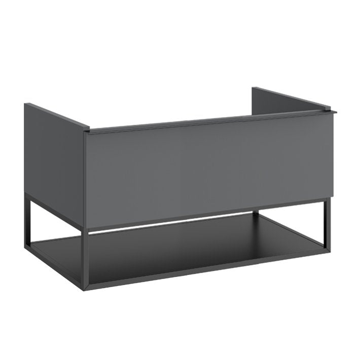 Aeon Single Drawer Wall Hung Vanity Unit With Black Metal Shelf And Square Washbasin