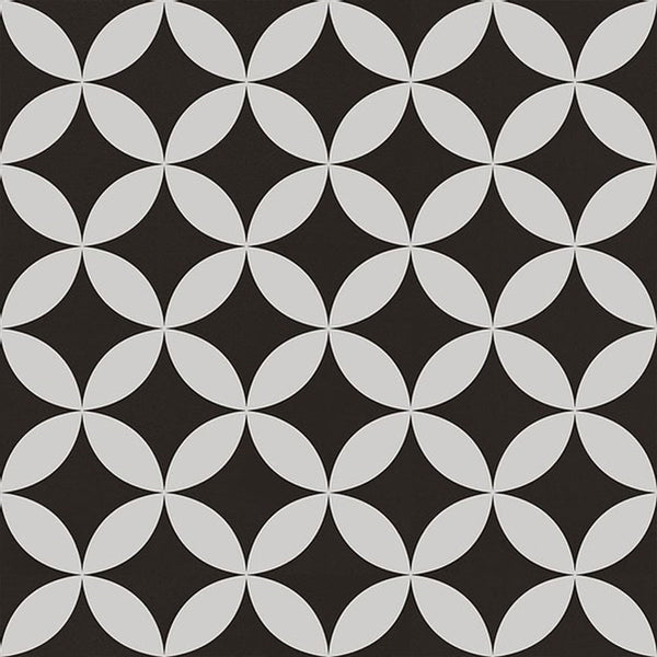 Laura Ashley Inspired Beatrice Black And White Pattern Porcelain Matt Floor Tile 33cm x 33cm