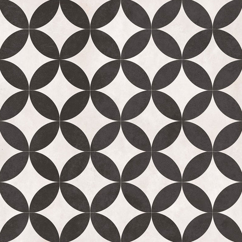 Laura Ashley Inspired Bertie White And Black Pattern Porcelain Matt Floor Tile 33cm x 33cm