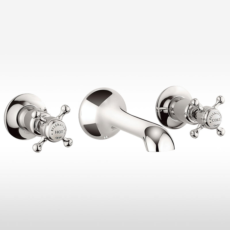 Belgravia Crosshead 3 Tap Hole Wall Mounted Basin Mixer Set