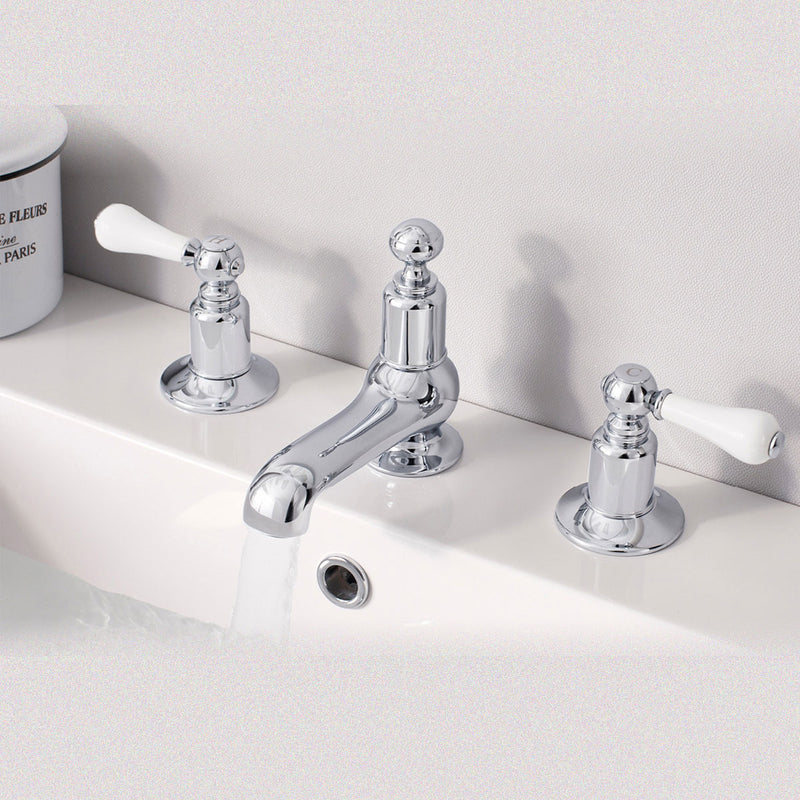 Belgravia Lever 3 Tap Hole Basin Mixer Set With Pop Up Waste - Chrome
