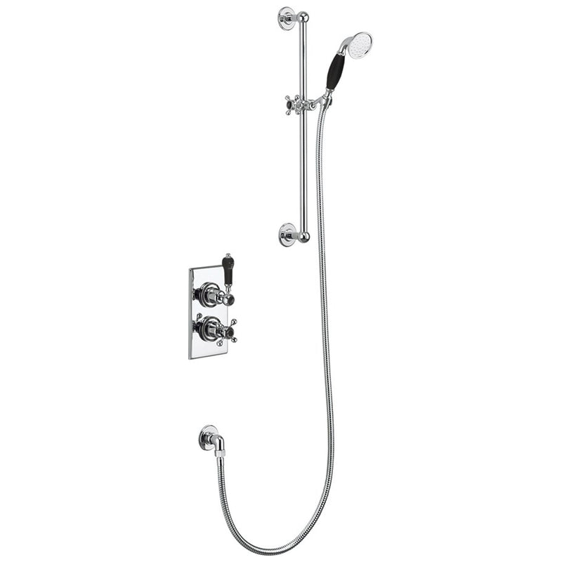 Burlington Trent Thermostatic Single Outlet Concealed Shower Valve with Rail, Hose and Handset