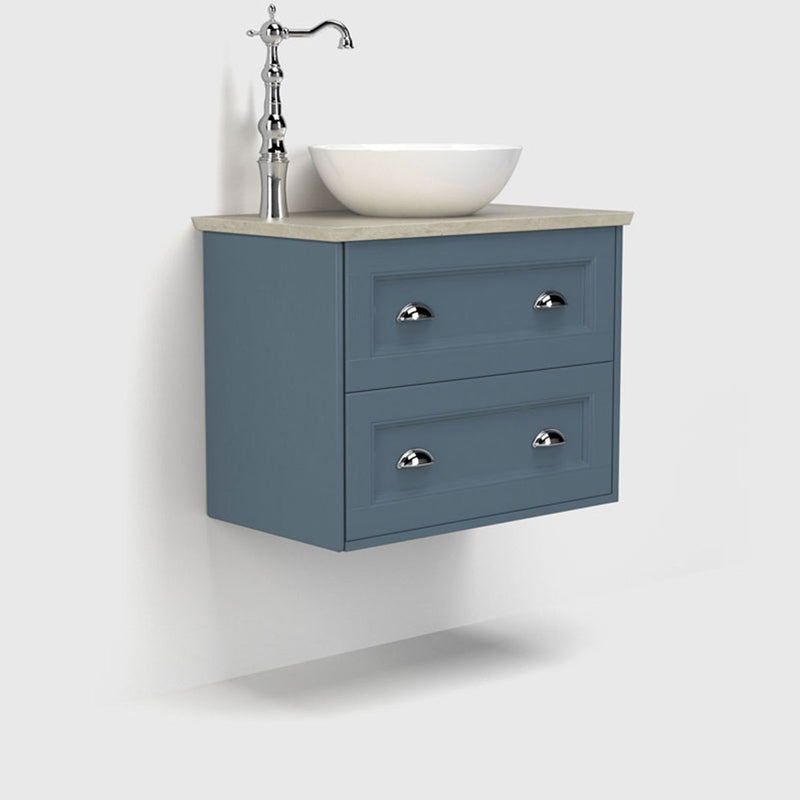 Roseberry 2 Drawer Wall Mounted Vanity Unit With Solid Surface Worktop
