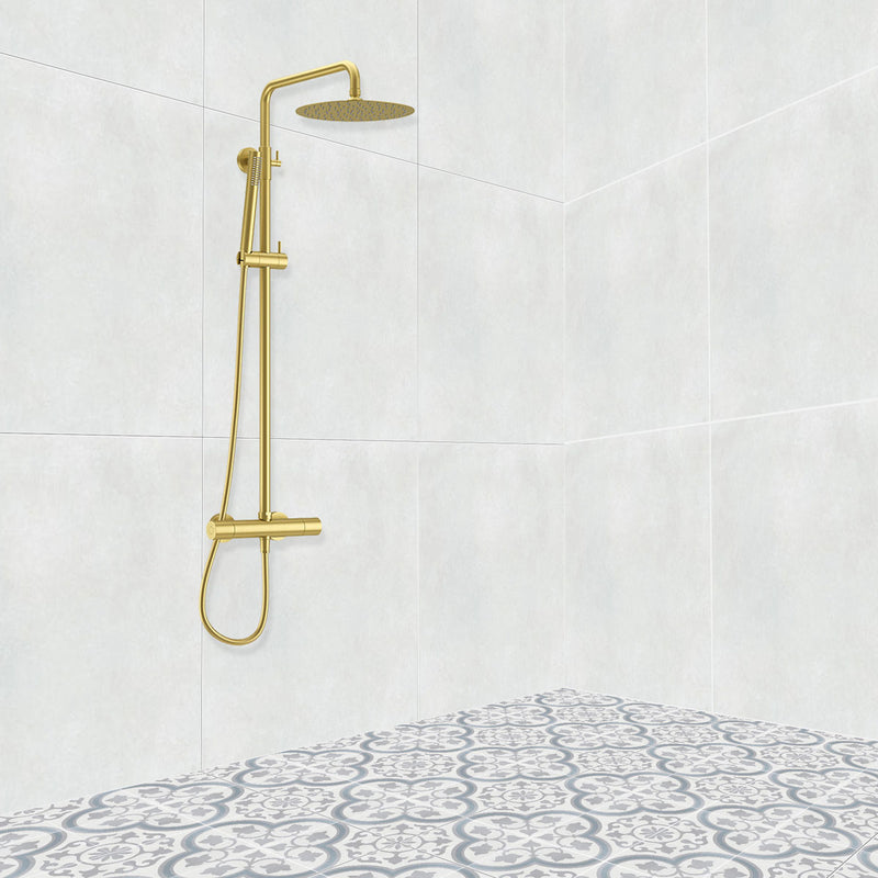 Deluxe Brushed Brass Edition Exposed Thermostatic Bar Mixer with Overhead Shower, Slide Rail & Handheld Shower Kit
