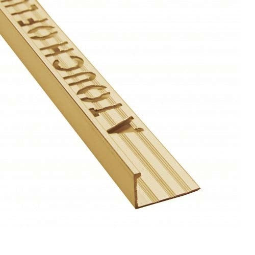 Square edge tile trim brushed brass