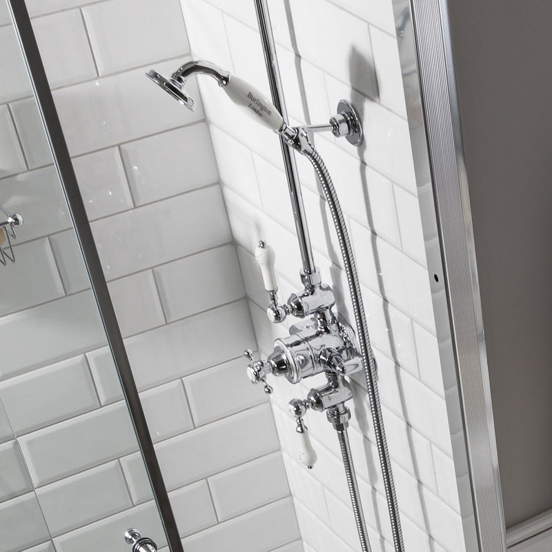 Burlington Avon Thermostatic Dual Outlet Exposed Valve With Rigid Riser & Shower Set With Fixed Head