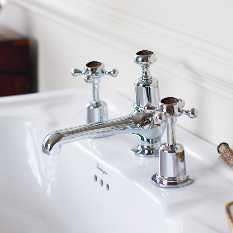 Burlington Claremont Three Tap Hole Basin Mixer With Pop-Up Waste