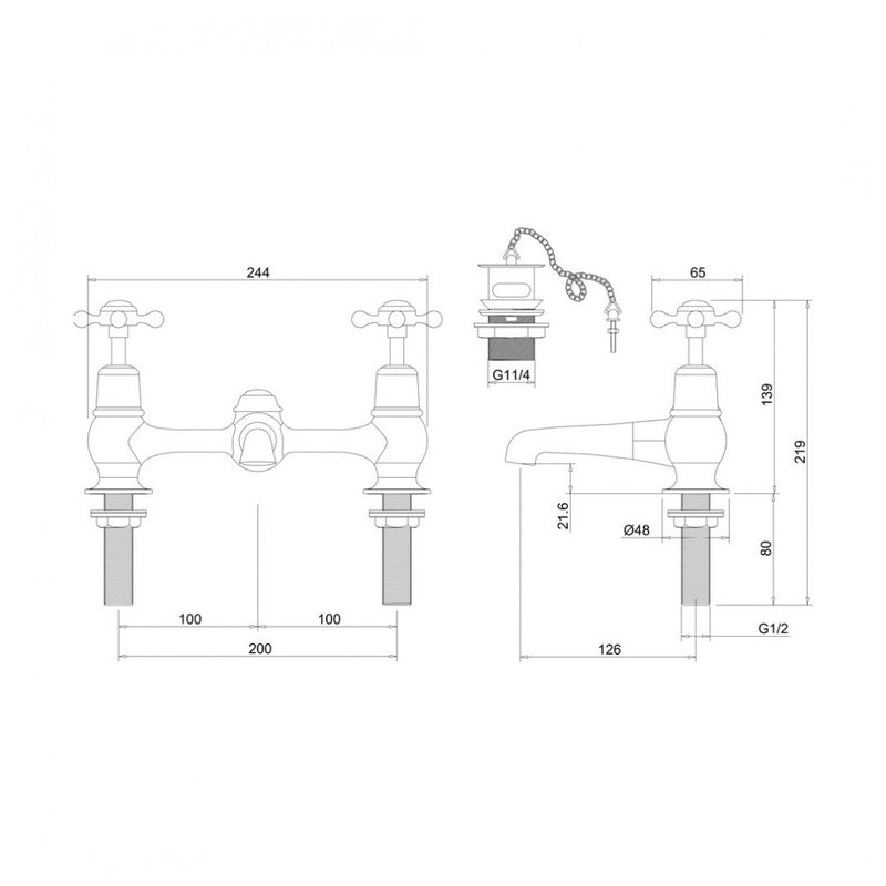 Burlington Claremont Two Tap Hole Bridge Mixer With Swivelling Spout With Plug And Chain Waste