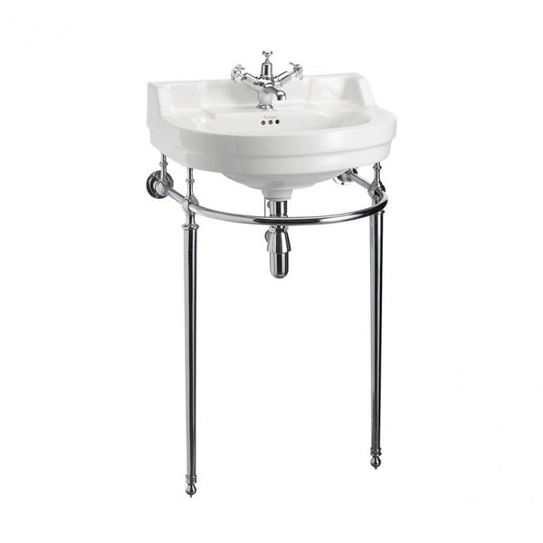 Burlington Edwardian 560mm White Round Basin With Chrome Washstand