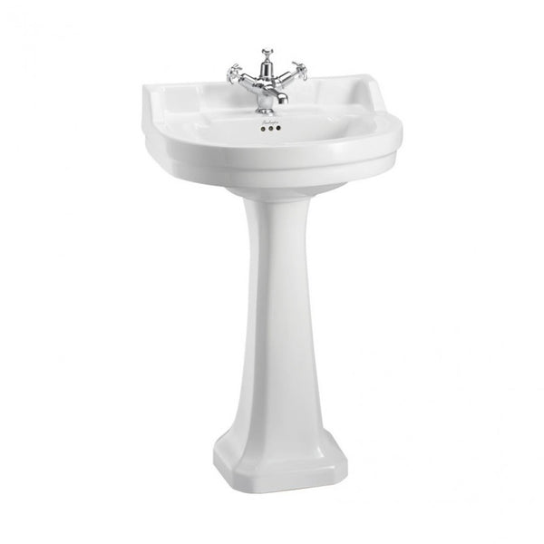 Burlington Edwardian 560mm White Round Basin With Standard Pedestal