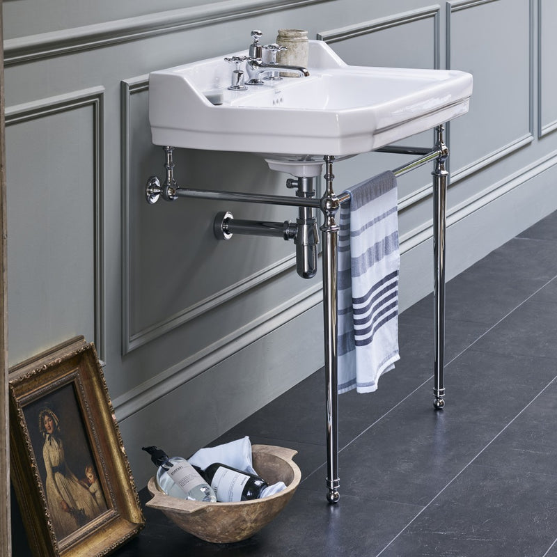 Burlington Edwardian White Basin With Standard Chrome Basin Washstand