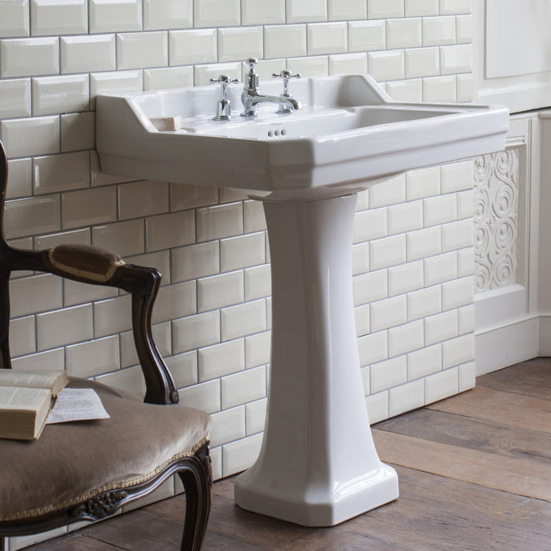 Burlington Edwardian Rectangular White Basin With Standard Pedestal