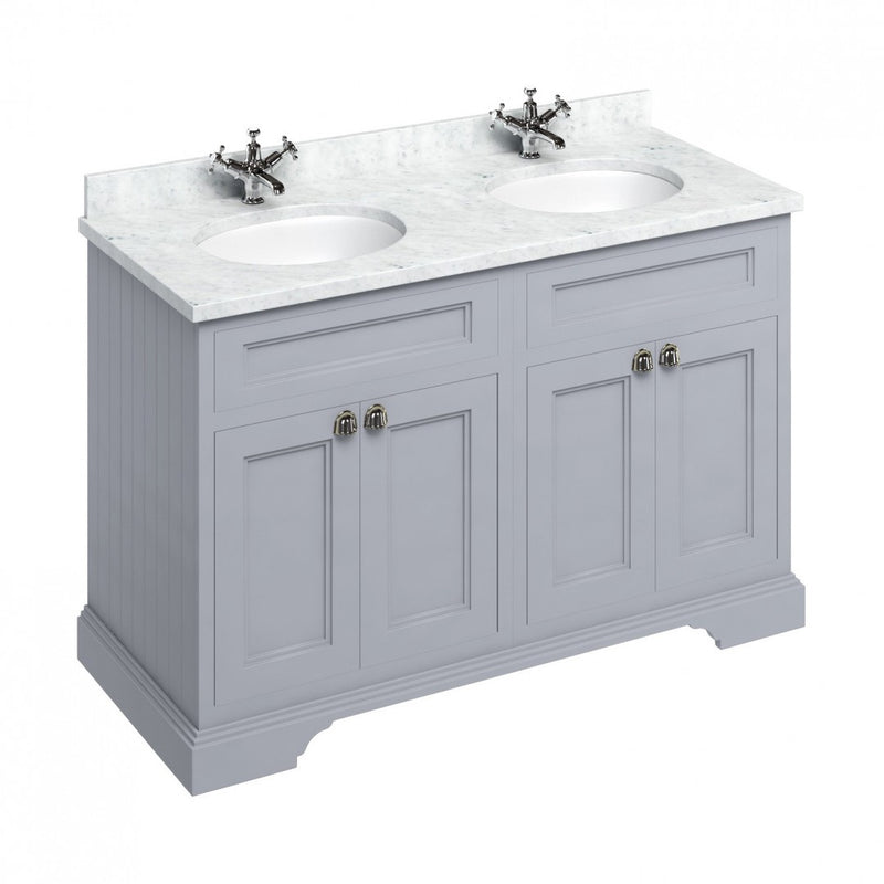 Burlington 1300 Freestanding Vanity Unit With White Marble Worktop & Double Integrated Basin
