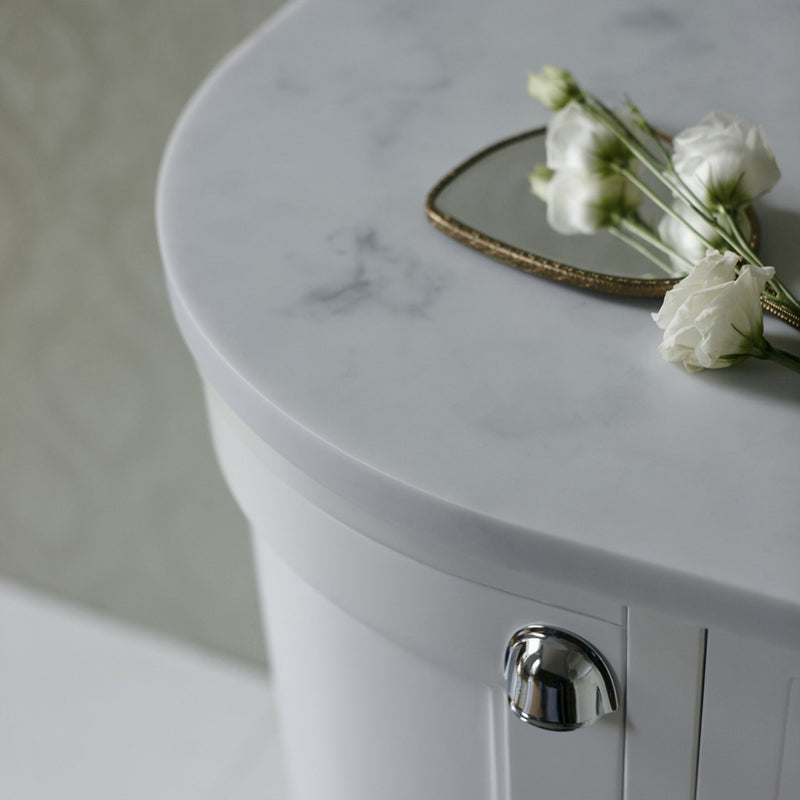 Burlington Freestanding Curved 1340mm Vanity Unit With White Marble Worktop & Integrated Basin