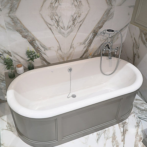 Burlington London 1800x950mm Curved Surround Back To Wall Bath