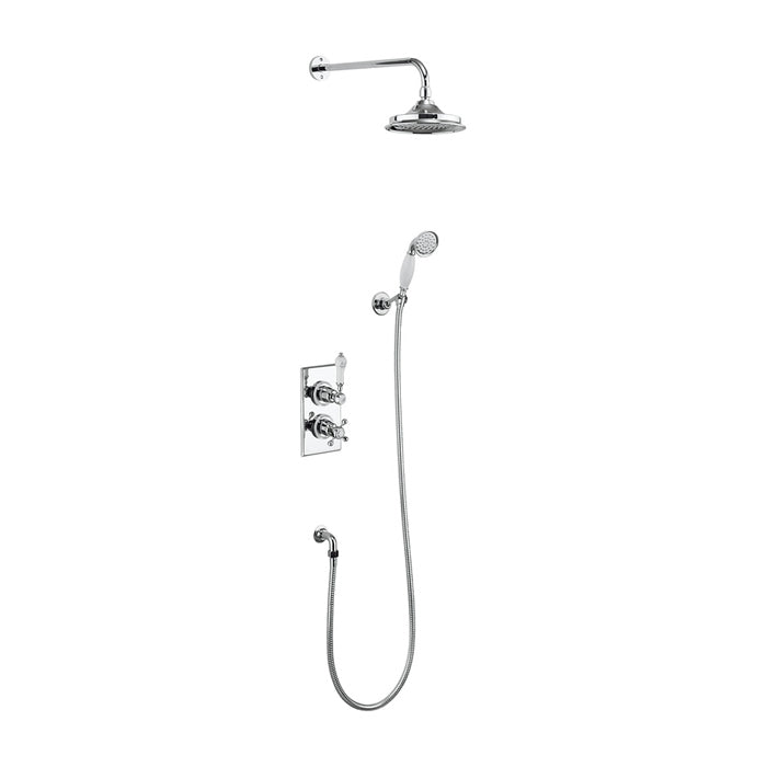 Burlington Trent Thermostatic Dual Outlet Concealed Divertor Valve with Shower Set