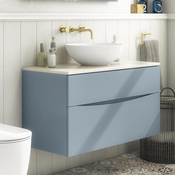 Crosswater Glide II Double Drawer Wall Hung Vanity Unit & Marble Effect Worktop
