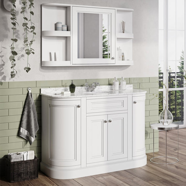 Deluxe Hampton 1200mm Curved Floorstanding Vanity Unit With Marble Worktop and Basin