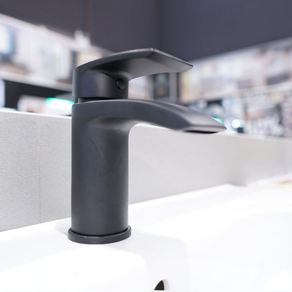 Deluxe Manly Matt Black Monobloc Basin Mixer With Click-Clack Waste