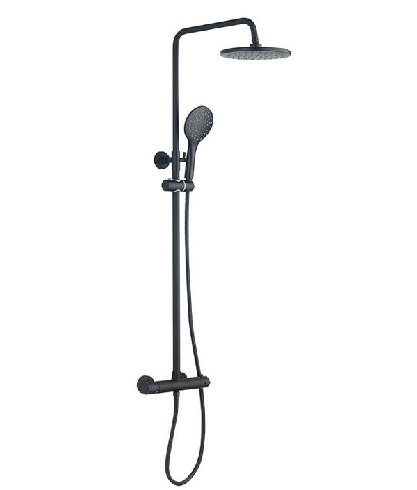 Deluxe Thermostatic Shower Valve With Head & Sliding Rail Kit - Black Matt