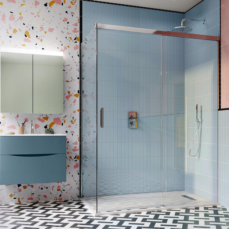 Crosswater DESIGN 8 Single Sliding Shower Door With Soft Close & Side Panel