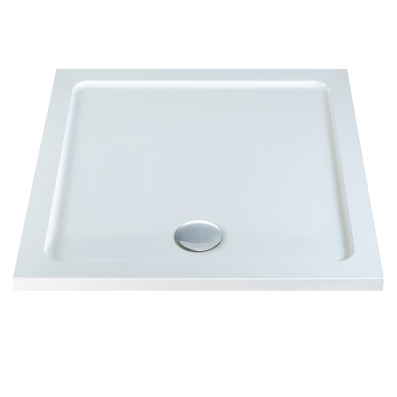 Deluxe Low Profile Square Shower Tray White With Waste