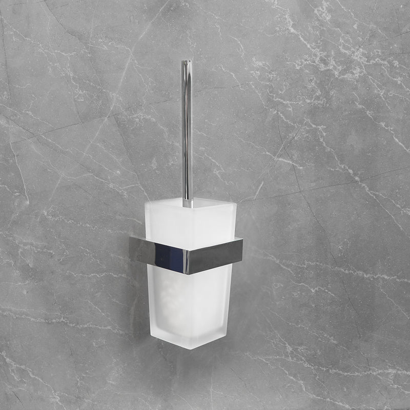Enzo Frosted Glass Toilet Brush Holder