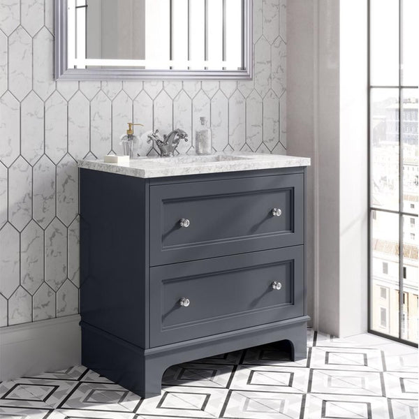 Deluxe Fairfax 2 Drawer Floorstanding Vanity Unit with Marble Worktop & Ceramic Basin