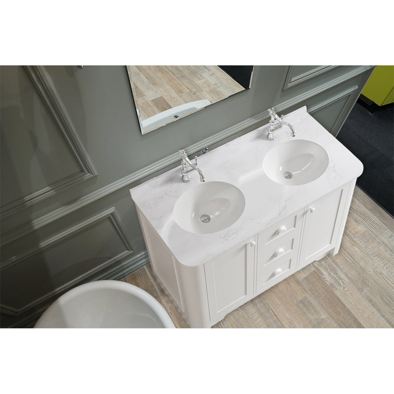 Shrewsbury 2 Door 3 Drawer Freestanding Vanity Unit With Carrara Marble Worktop & Double Basin