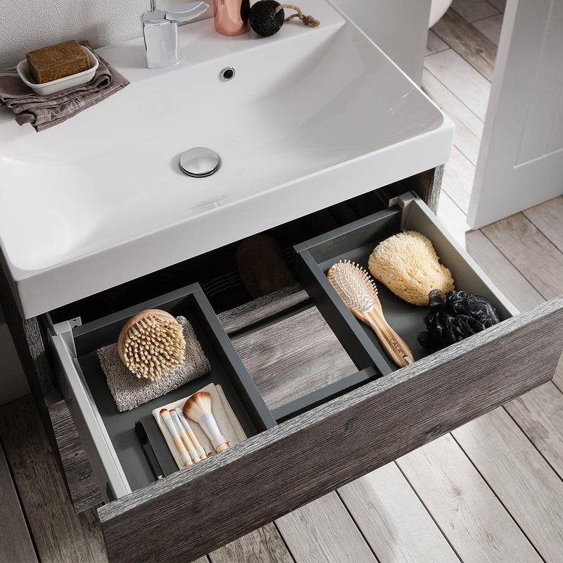 Crosswater Glide II Double Drawer Wall Hung Vanity Unit With Cast Mineral Marble Basin