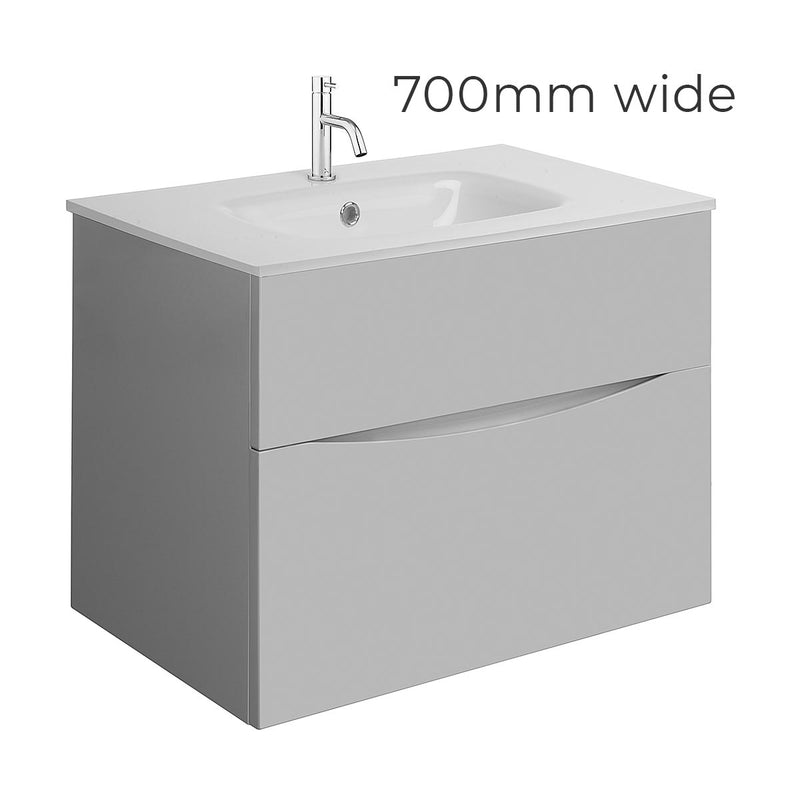 Crosswater Glide II Double Drawer Wall Hung Vanity Unit With Ice White Glass Basin