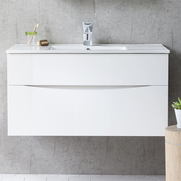 Crosswater Glide II Double Drawer Wall Hung Vanity Unit With Ceramic Basin