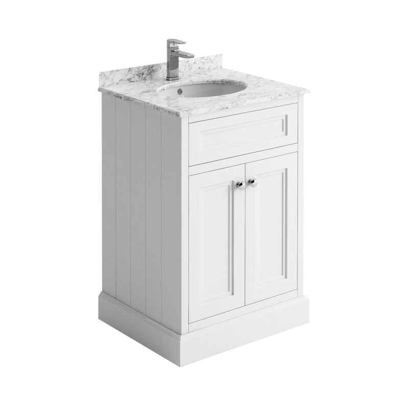 Hampton 600mm Floorstanding Vanity Unit With Marble Worktop and Basin