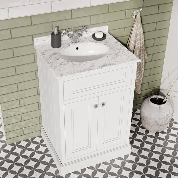 Deluxe Hampton 600mm Floorstanding Vanity Unit With Marble Worktop and Basin