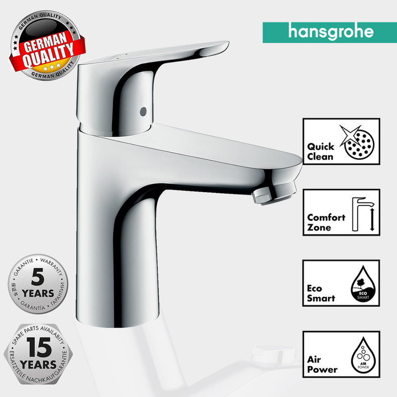 Hansgrohe Focus 100 Single Lever Basin Mixer Without Waste