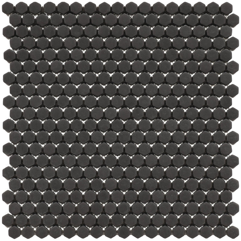 HARMONY Calm Black Matt Hexagon Mosaic Tile Sheet 29 x 29cm
