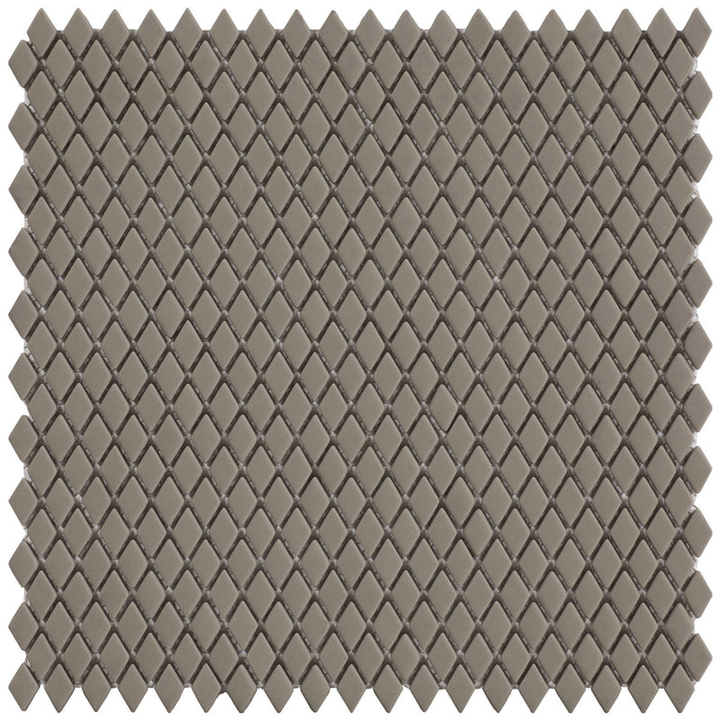 HARMONY Calm Silence Grey Matt Diamond-Shaped Mosaic Tile Sheet 29 x 29cm
