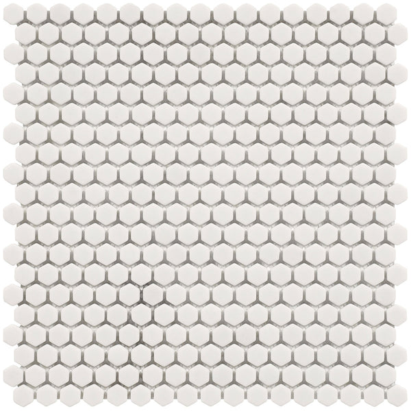 HARMONY Calm White Matt Hexagon Mosaic Tile Sheet 29 x 29cm