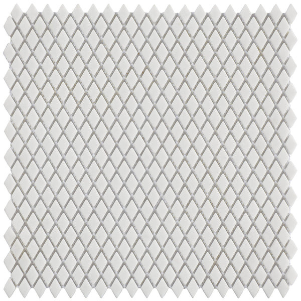 HARMONY Calm Silence White Matt Diamond-Shaped Mosaic Tile Sheet 29 x 29cm