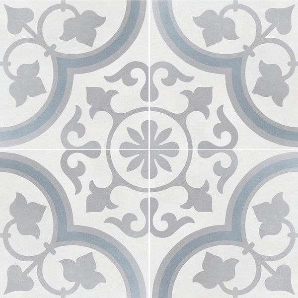 Havana Silver Ornate Matt Porcelain Tile 22 x 22cm