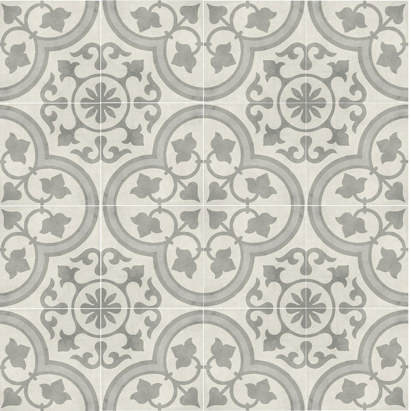 HARMONY Cuban Silver Ornate Matt Porcelain Tile 22 x 22cm