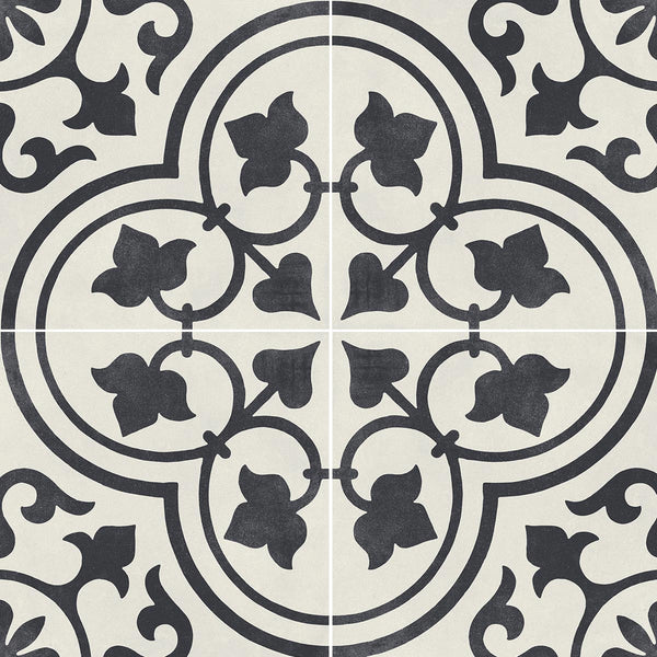 Cuban White Ornate Matt Porcelain Tile 22 x 22cm