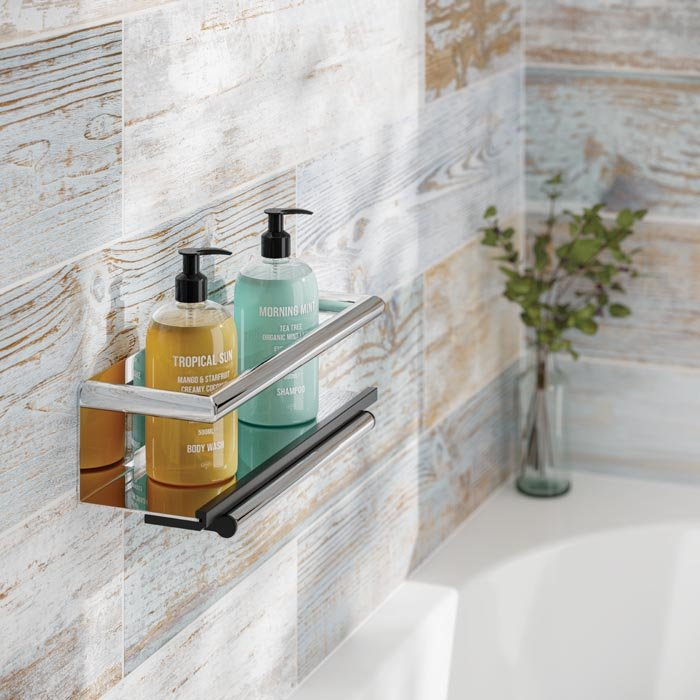 HiB Multi Feature Shower Shelf With Grab Bar & Magnetic Squeegee