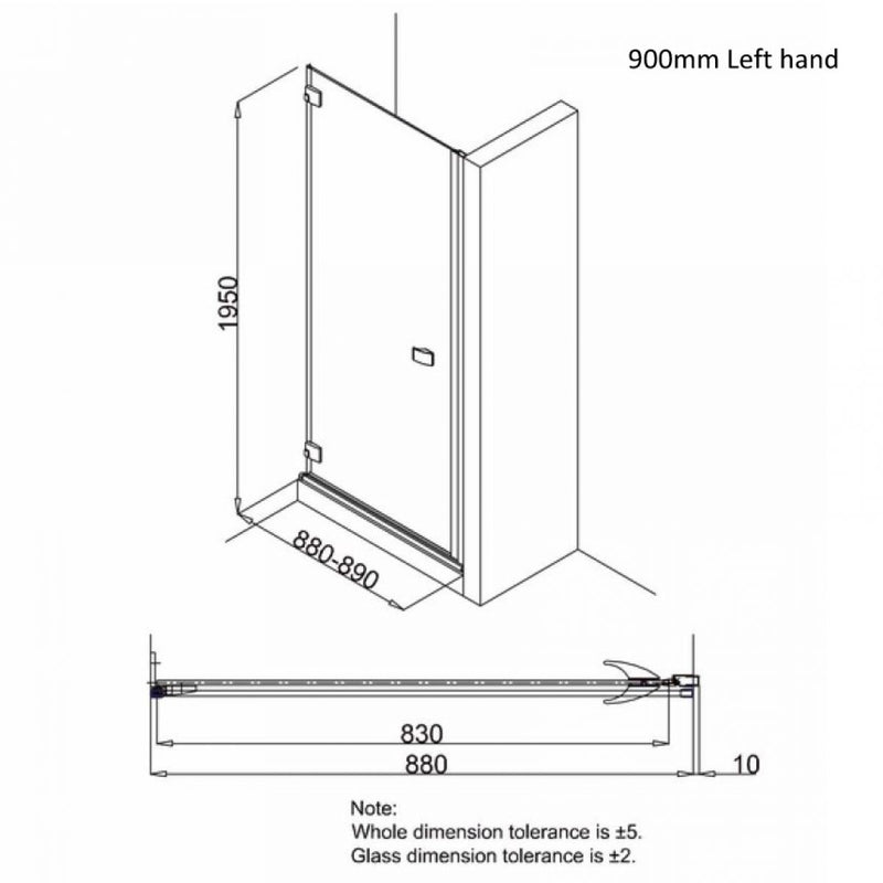 Crosswater DESIGN 8 Hinged Shower Door & Side Panel