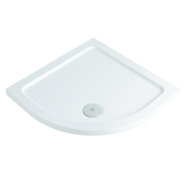 Deluxe Low Profile Quadrant Shower Tray White With Waste