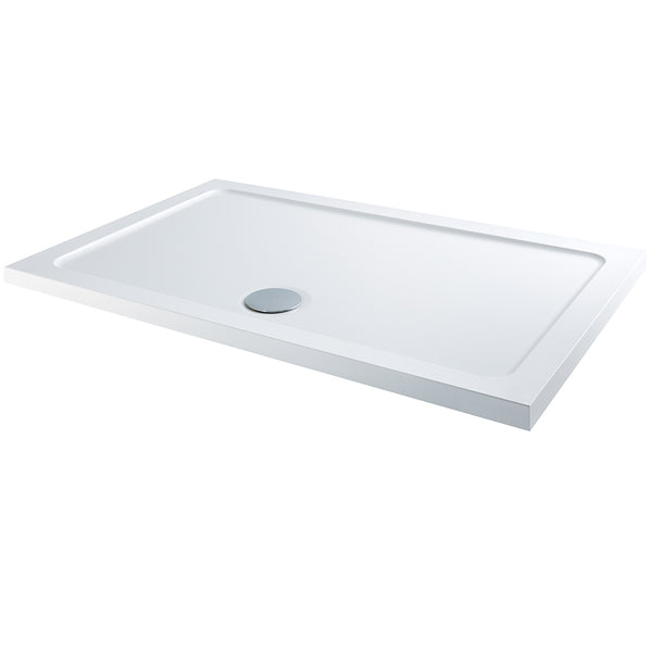 iTRAY Low Profile Rectangular Shower Tray White With Waste