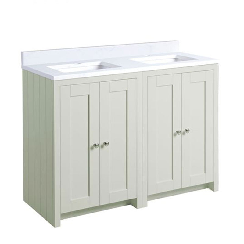 Lansdown 1200mm Floor Standing Underslung Bathroom Unit With Double Basin And Worktop