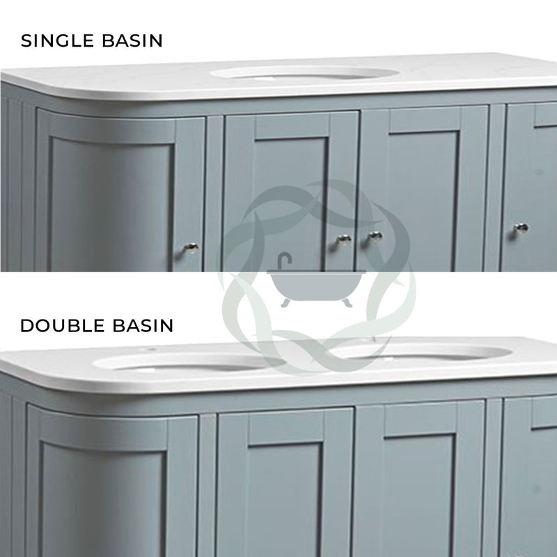 Lansdown 1200mm Floor Standing Curved Underslung Bathroom Unit With Basin And Worktop