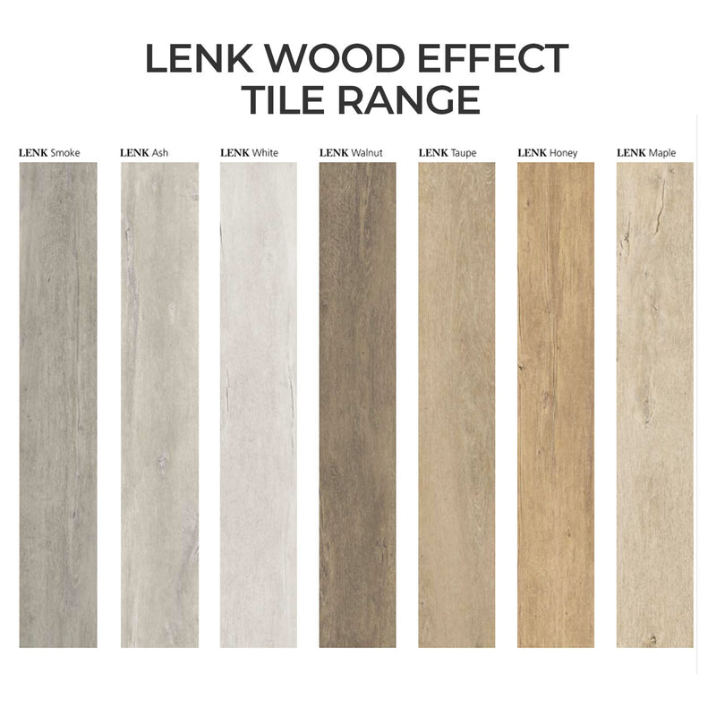 LENK Ash Wood-Effect Porcelain Matt Tile 20 x 120cm