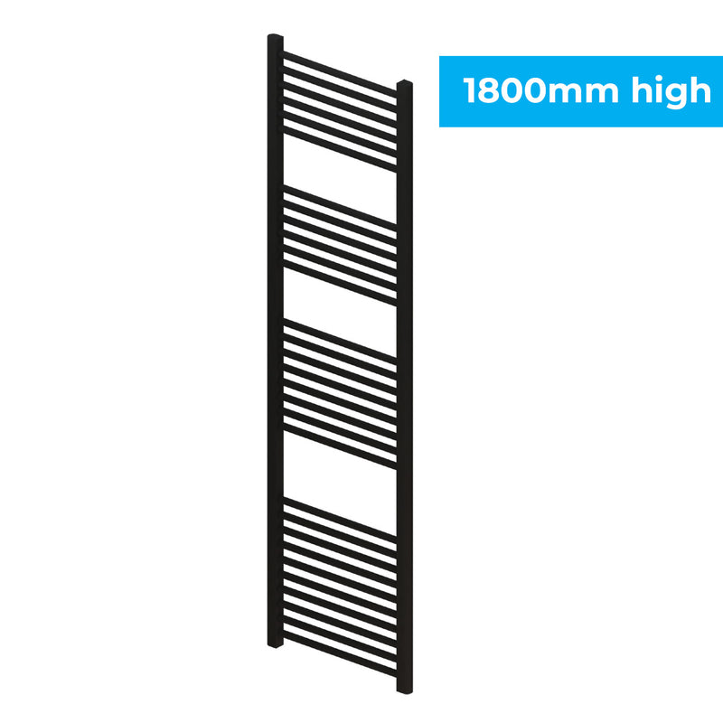 Madrid Heated Towel Rail - Matt Black